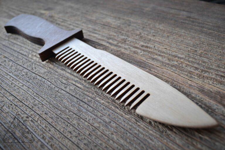 Laser Cut Wooden Knife Comb Free CDR Vectors Art