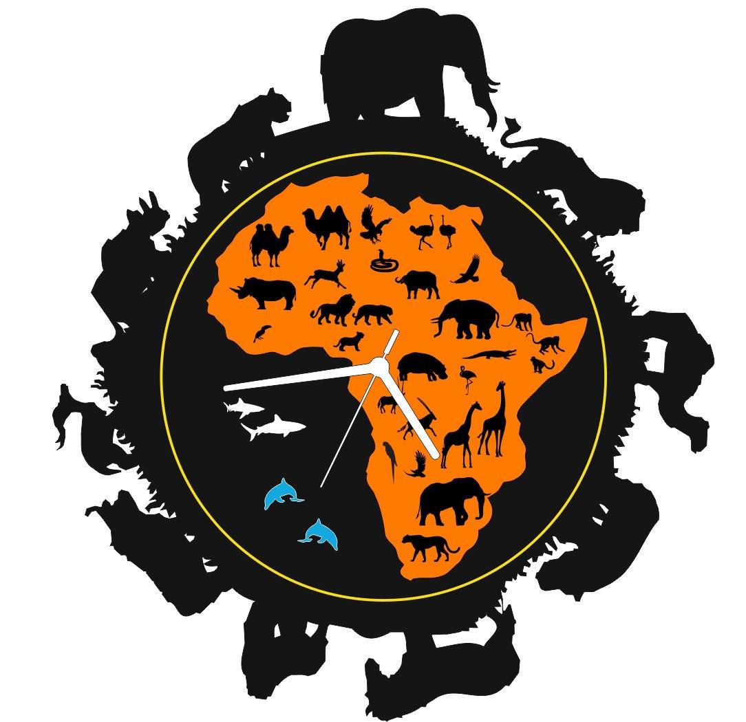 Laser Cut Africa Clock Free CDR Vectors Art