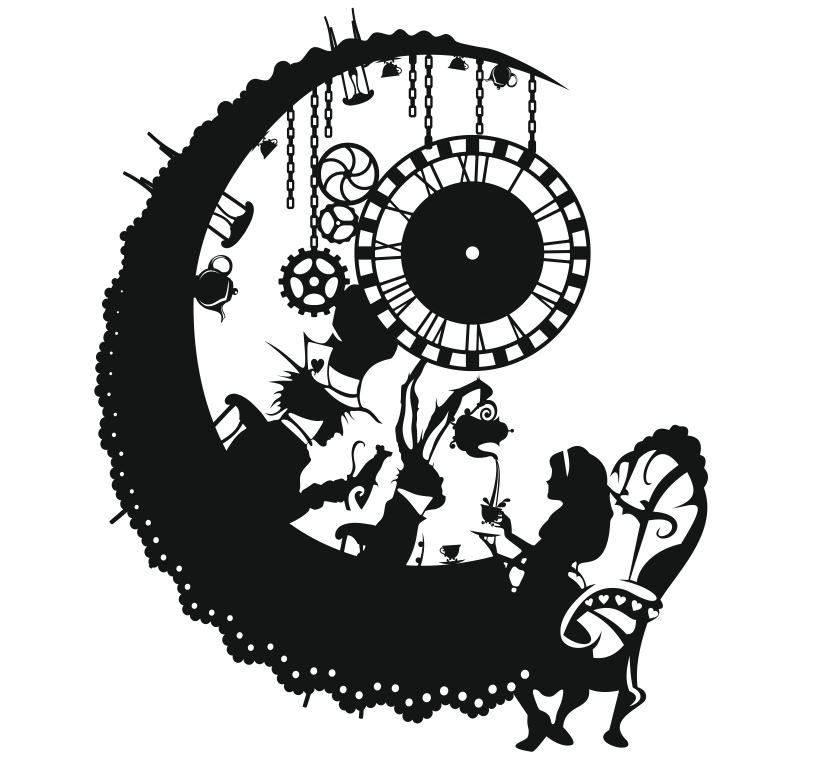 Laser Cut Alice In Wonderland Wall Clock Free CDR Vectors Art
