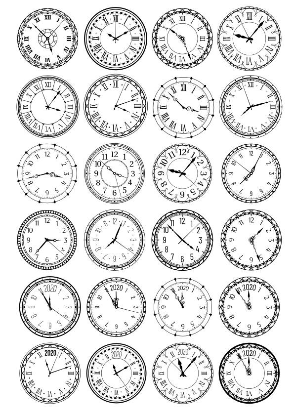 Laser Cut Clocks Vector Set Free CDR Vectors Art
