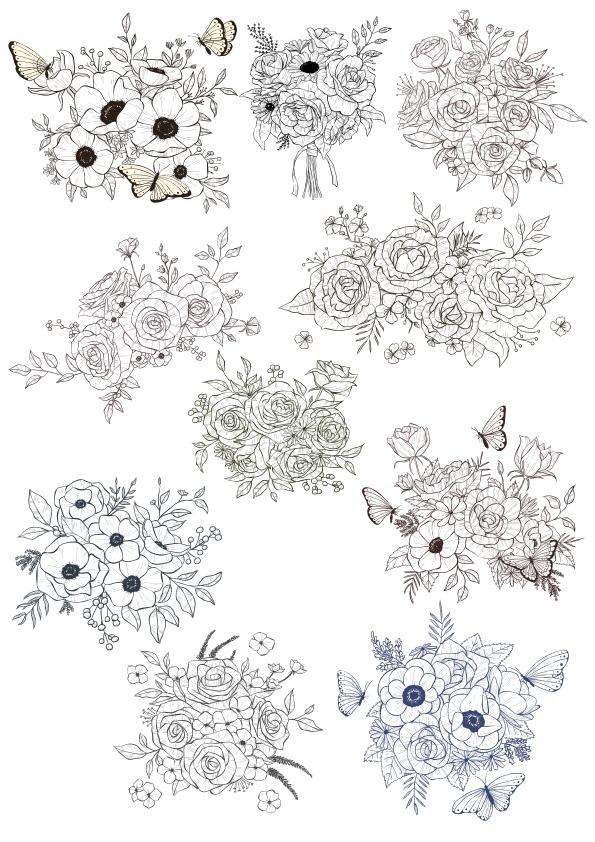 Laser Cut Floral Bouquet Vectors Set Free CDR Vectors Art