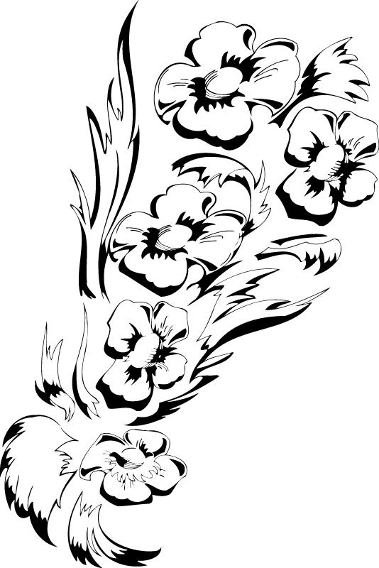 Black White Flower Floral Design Free AI File