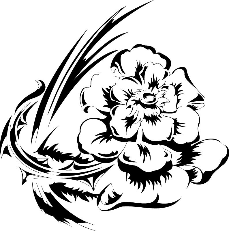 Flowers Vector Illustration Tattoo Design Free AI File