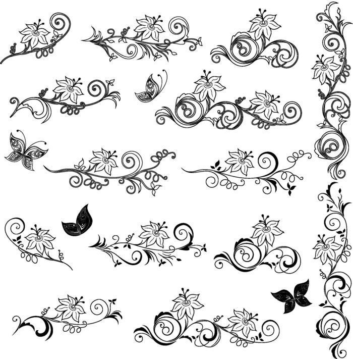 Floral Decor Elements Vector Art Free AI File