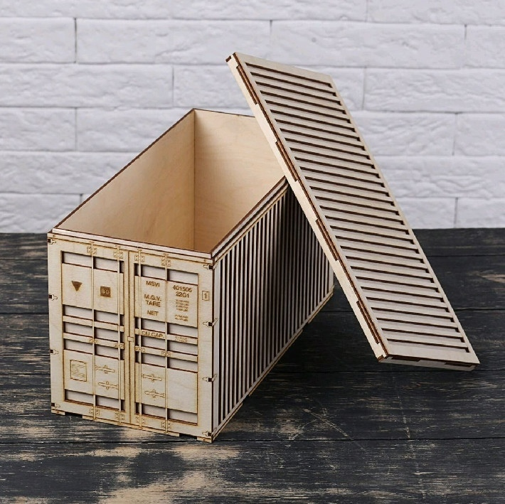 Laser Cut Truck Container Box Layout Free CDR Vectors Art