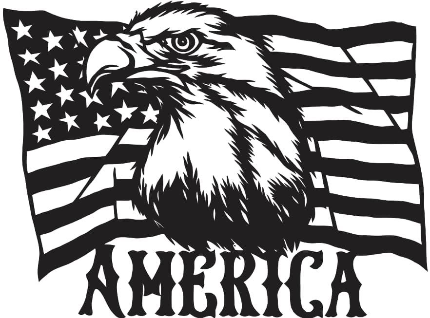 Laser Cut American Flag Eagles Download Free DXF File