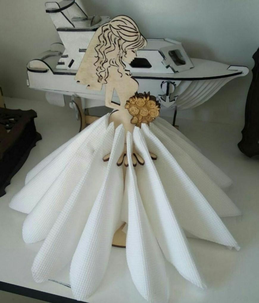 Laser Cut Beautiful Bride With Bouquet Standing Napkin Holder Free CDR Vectors Art