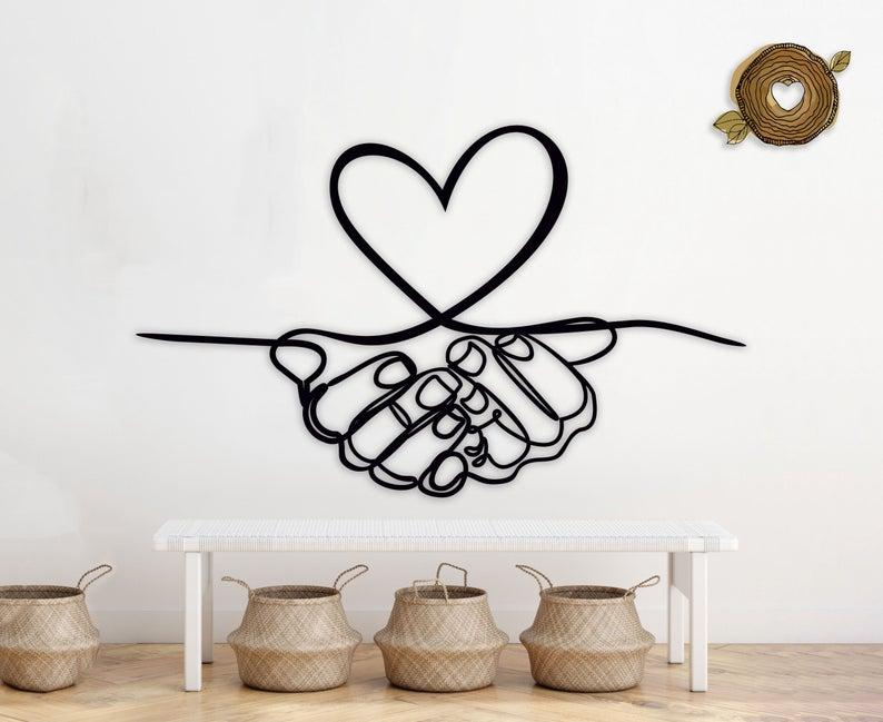 Heart In Hands Wedding Wall Art Love Monogram Free CDR Vectors Art
