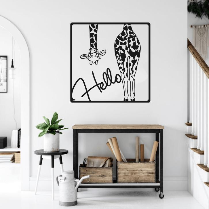 Hello Text Giraffe Metal Wall Art Giraffe Metal Home Decor Wall Sign Free CDR Vectors Art