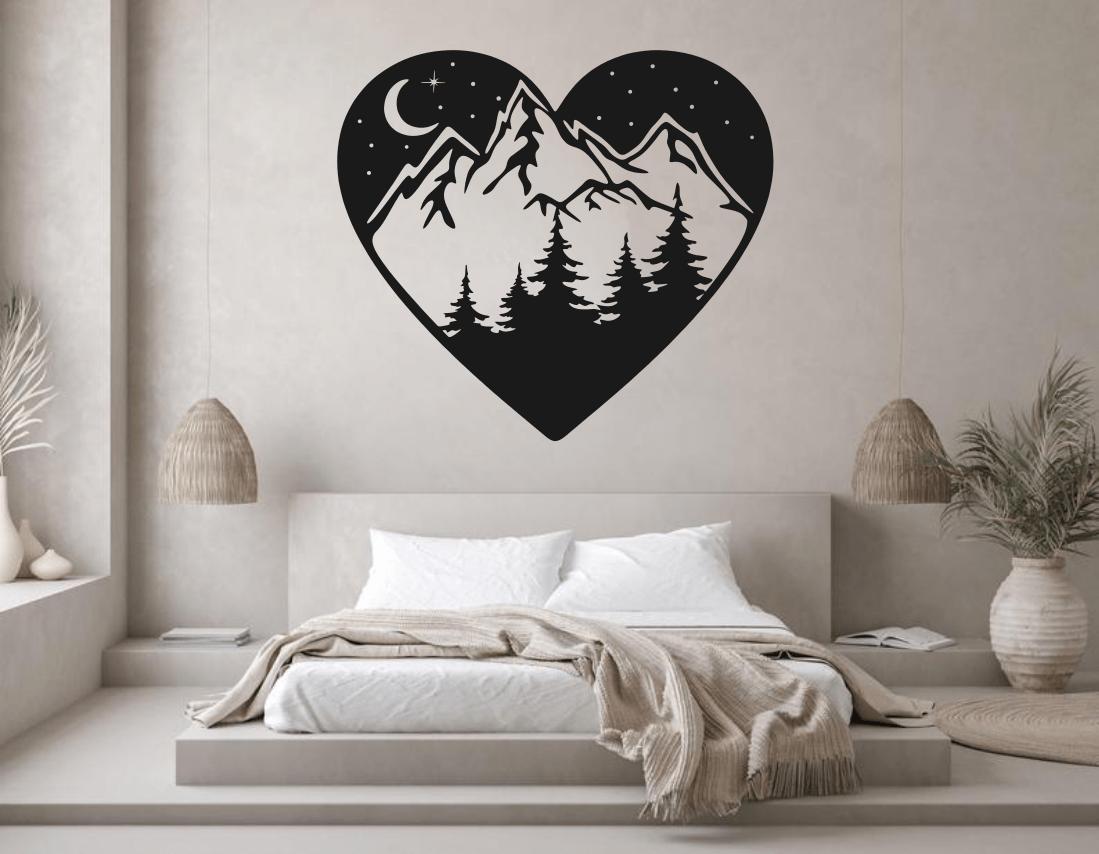 Mountains Wall Art Mountains In Heart Wall Metal Art Free CDR Vectors Art