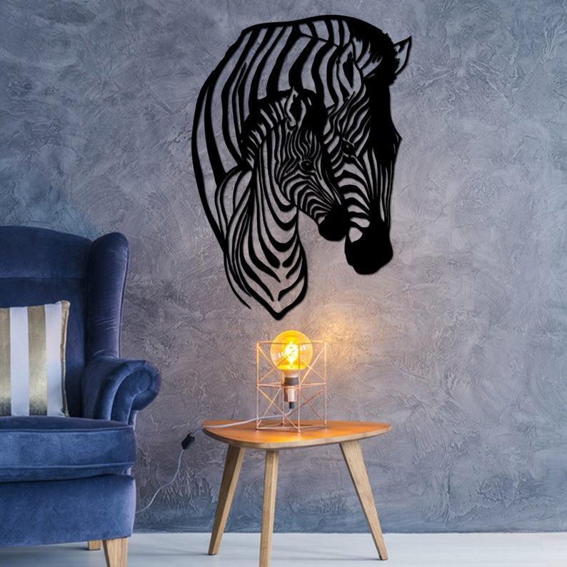 Zebra Metal Wall Art Animal Wall Decor Wildlife Metal Wall Art Free CDR Vectors Art