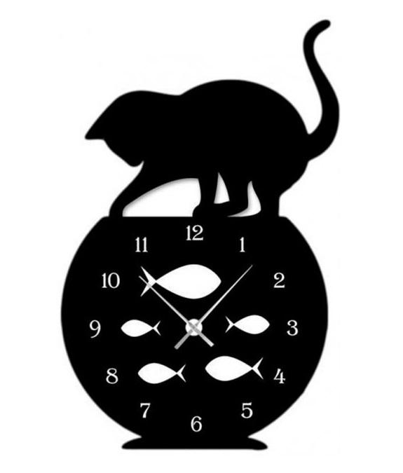 Laser Cut Naughty Cat Fish Tank Modern Wall Clock Home Decor Free CDR Vectors Art