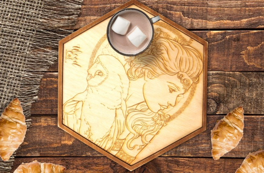 Laser Cut Engraved Wooden Tray Free CDR Vectors Art