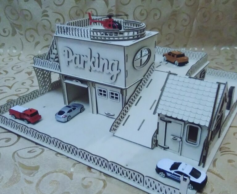 Laser Cut Garage With Helicopter Deck Free CDR Vectors Art