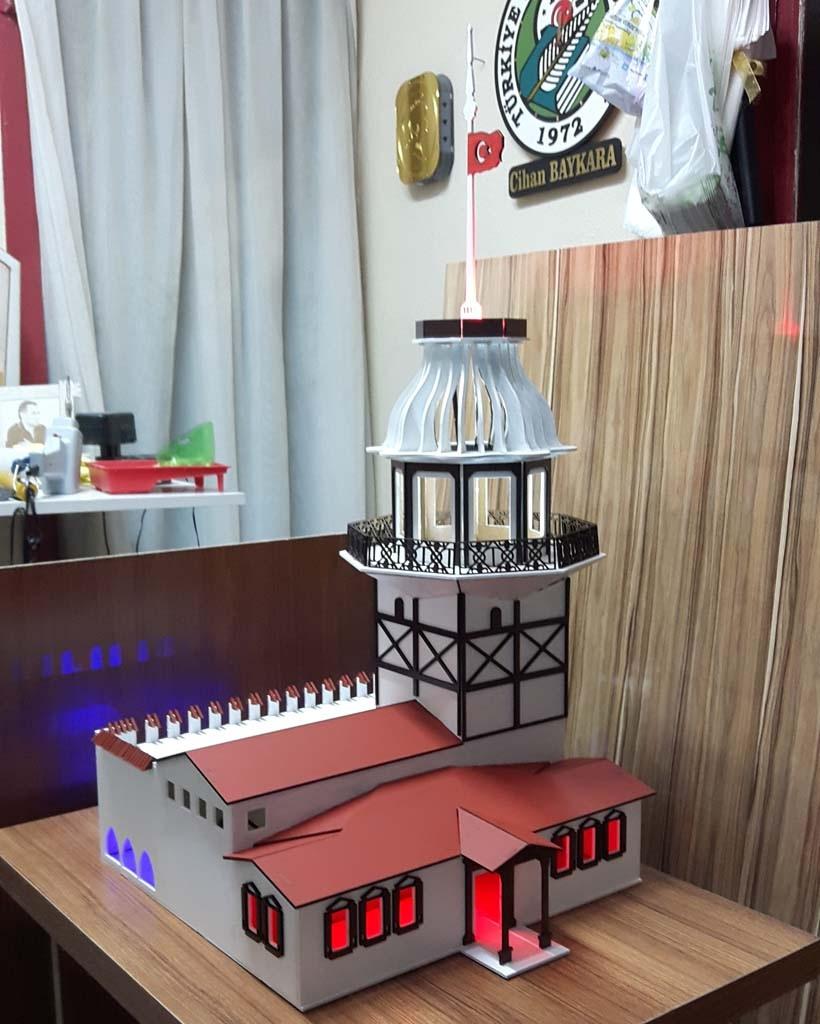 Laser Cut Maidens Tower Istanbul Turkey Kiz Kulesi Free CDR Vectors Art