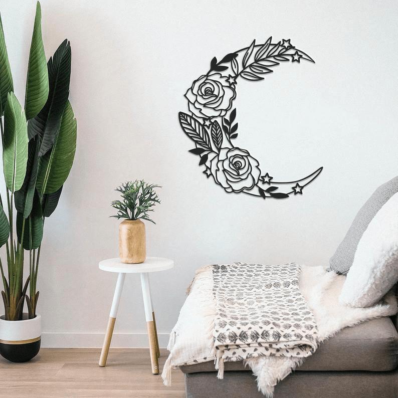Laser Cut Flower Moon Wall Decor Vector Free CDR Vectors Art