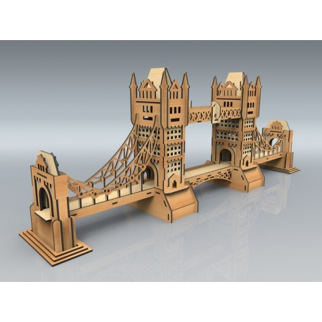 Laser Cut Tower Bridge Model Free CDR Vectors Art