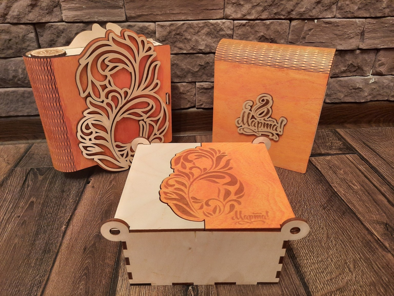 Laser Cut Layout Of Box For 8 March Free CDR Vectors Art
