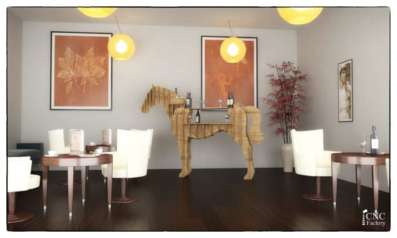 Laser Cut Chic Shelf In The Shape Of A Horse Free DXF File
