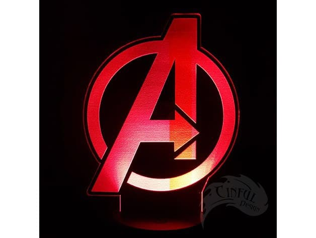 Laser Cut Avengers Logo Led Lamp Plate Free DXF File