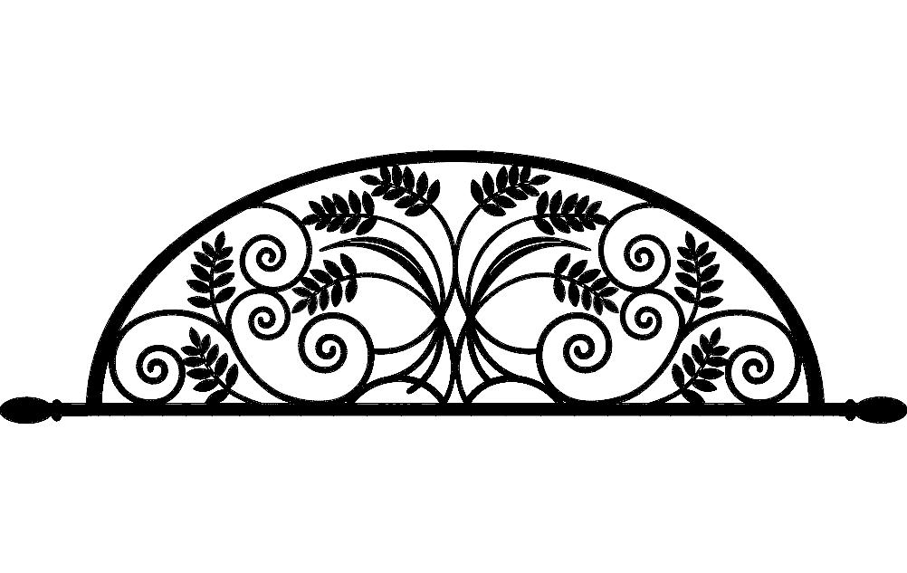 Laser Cut Ironwork Arch Flower Design Free DXF File