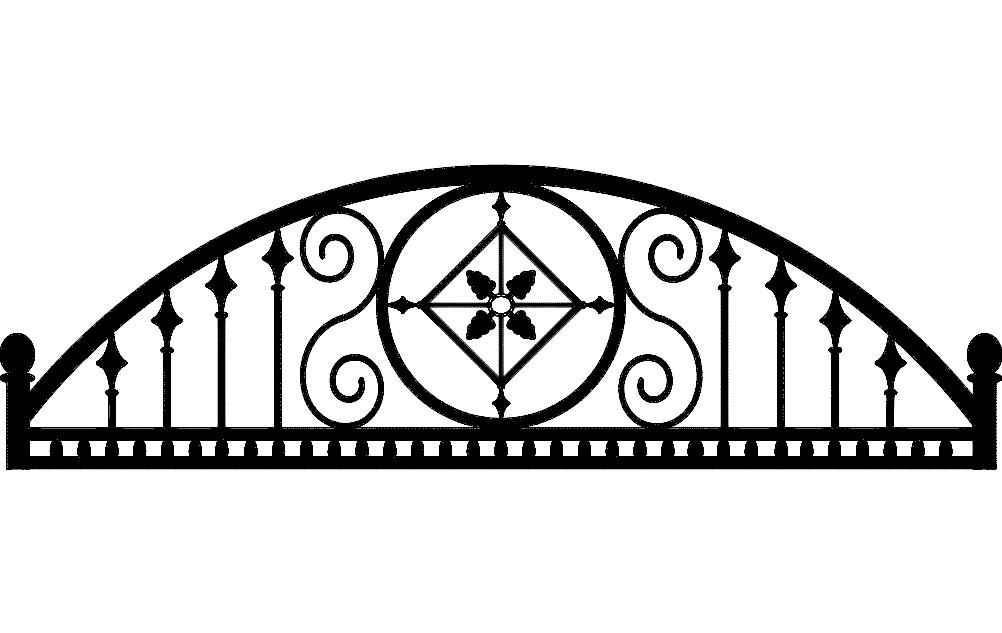 Laser Cut Ironwork Arch Semi Round Design Free DXF File