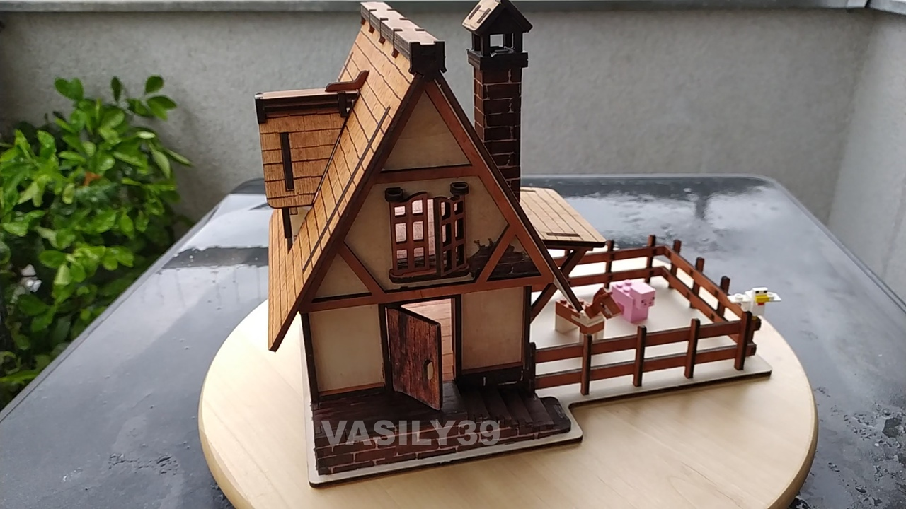 Laser Cut Model Of A Medieval House Made Of Plywood Drawings For Laser Cutting Free DXF File