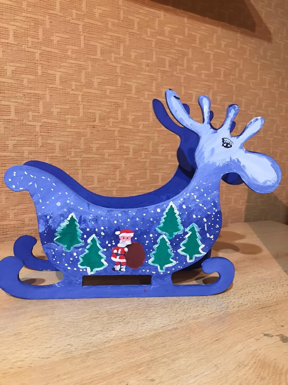 Laser Cut Deer Candy Dish Sleigh Bowl Table Decoration Free CDR Vectors Art
