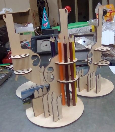Laser Cut Gun Pencil Holder Free CDR Vectors Art