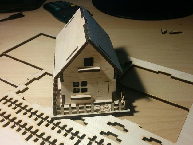 Wooden House 3mm Laser Cut Free PDF File