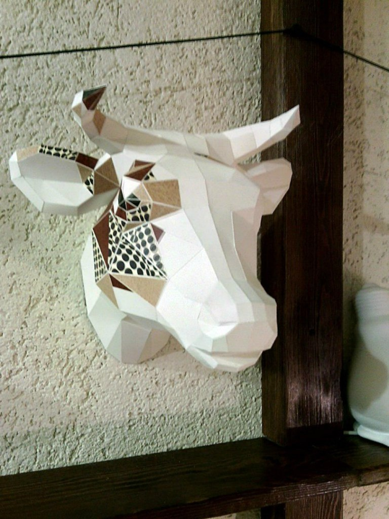 3d Cow Head Paper Craft Template Free PDF File