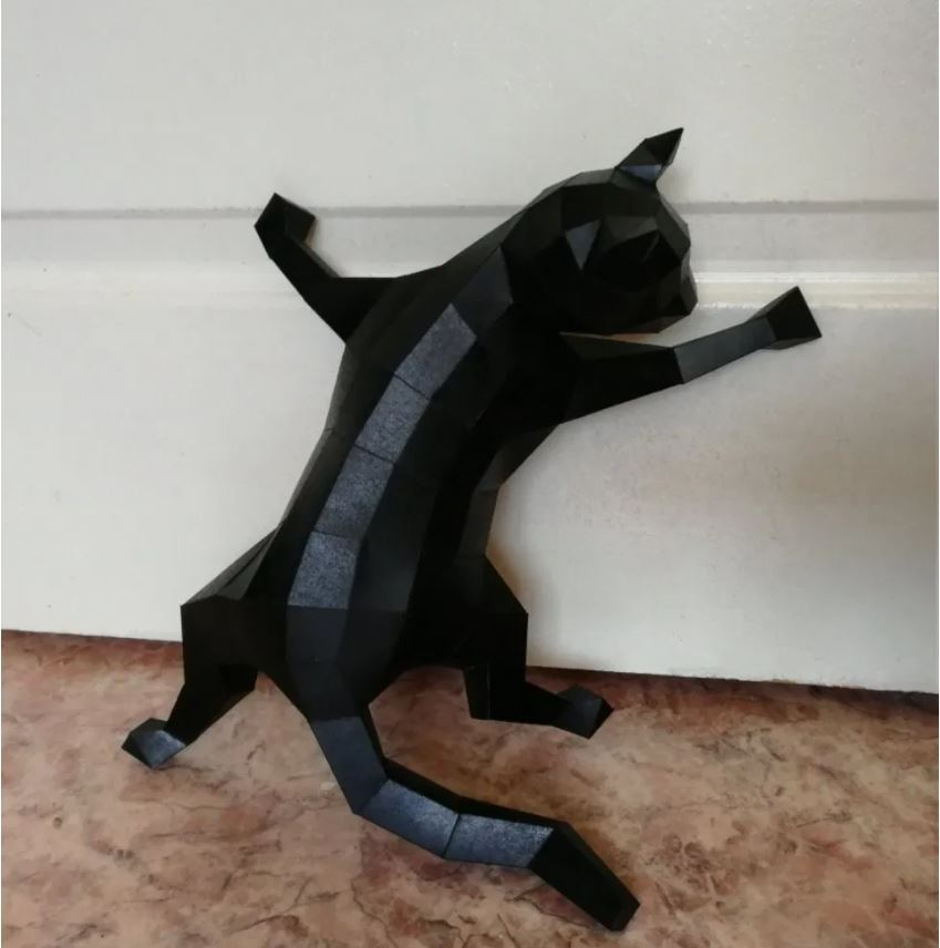 Cat On Wall 3d Papercraft Template Free PDF File