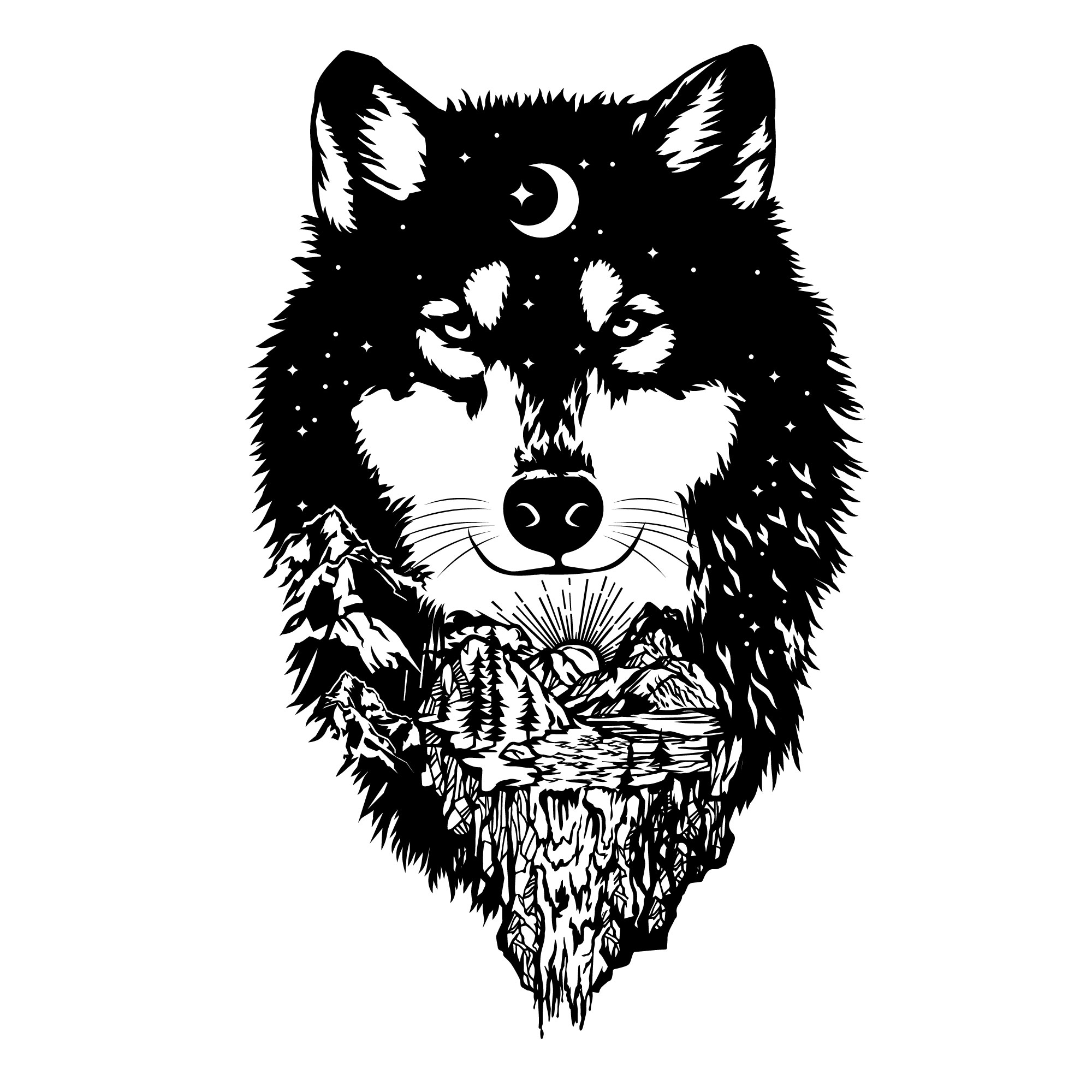 Wolf Clipart Vector Free PDF File