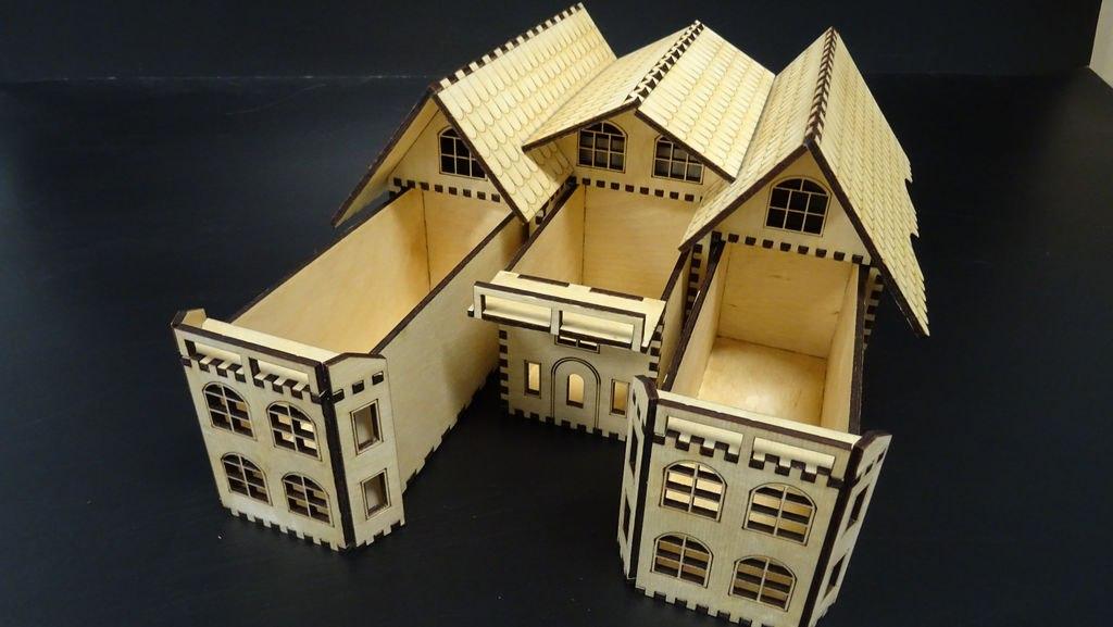 Laser Cut Casket Box House Free CDR Vectors Art
