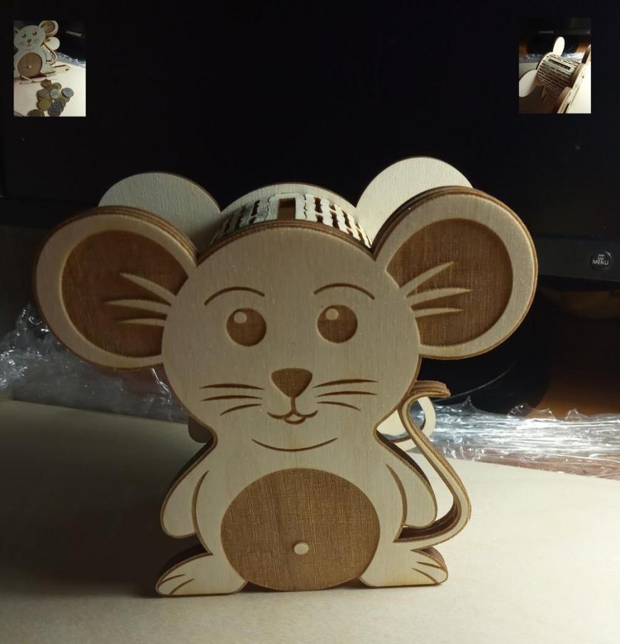 Laser Cut Mouse Piggy Bank Template Free CDR Vectors Art
