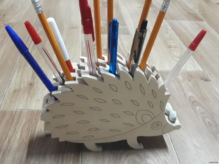 Laser Cut Wooden Hedgehog Pencil Holder Free PDF File