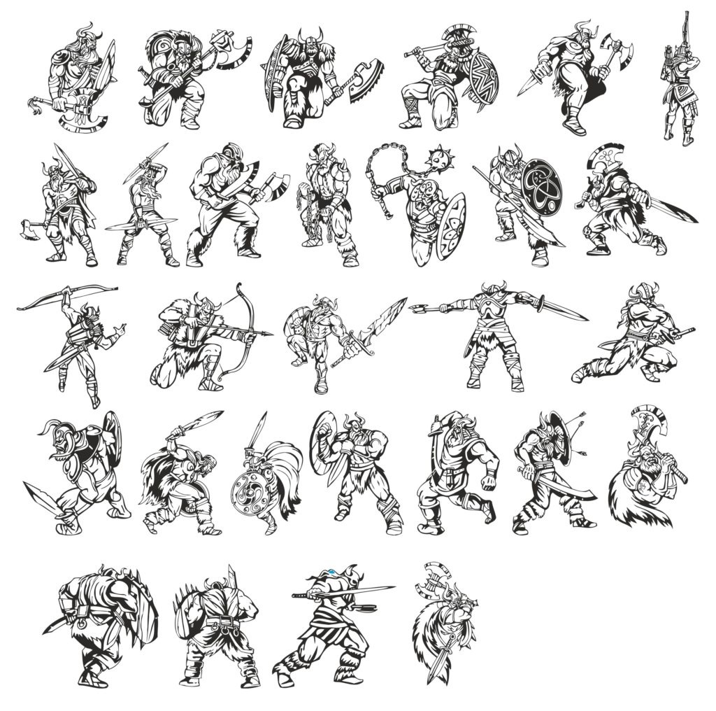 A Big Collection Of Vector warriors-vikings Free DXF File