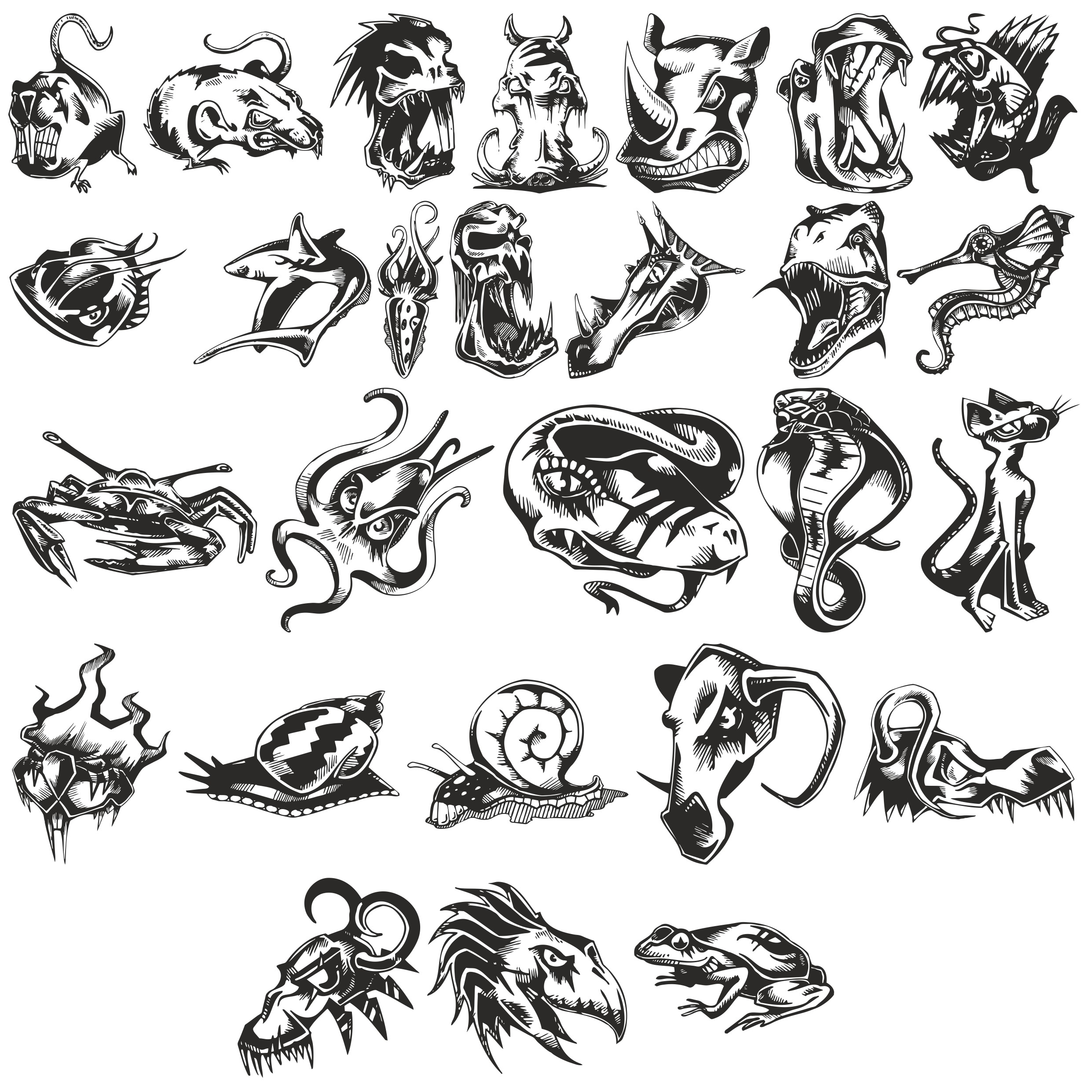 Angry Animals Sketches Of Tattoo Free DXF File