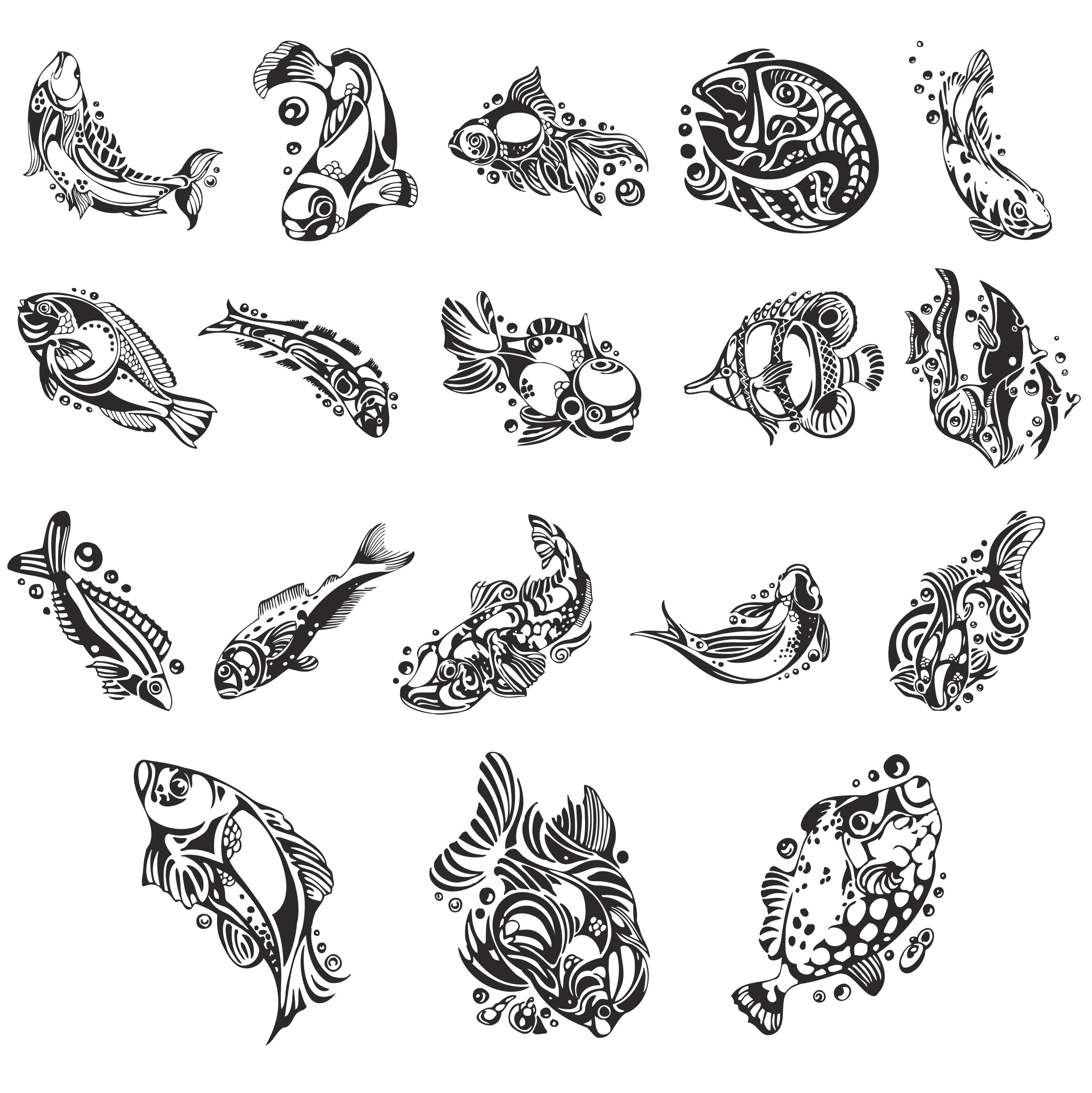 Collection For Plotter Cutting Sketches Of Fish Free DXF File