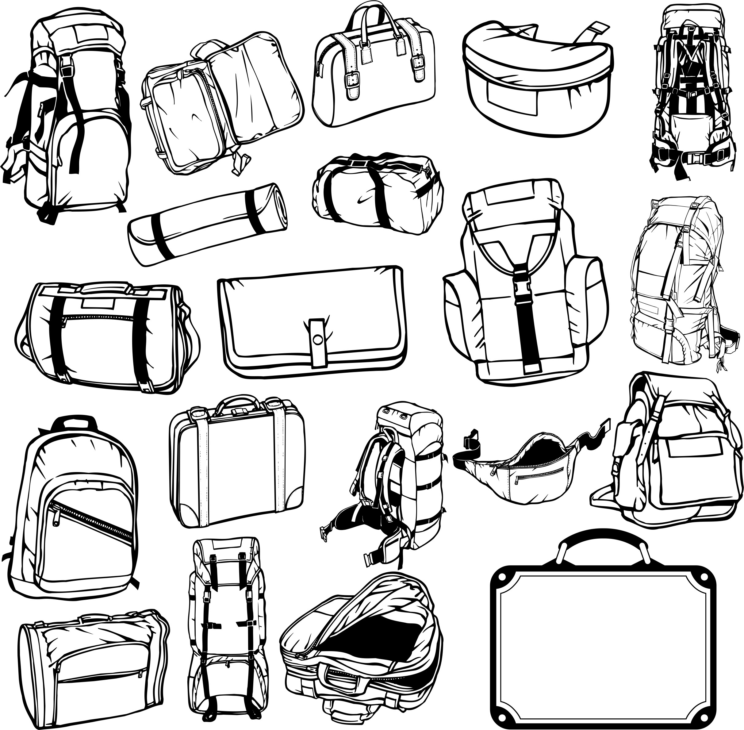 Collection Of Hiking Backpacks And Bags Free DXF File