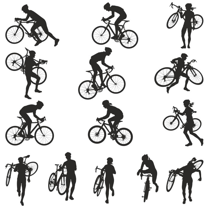 Collection Of Vector Silhouettes Of Bicyclists Free DXF File