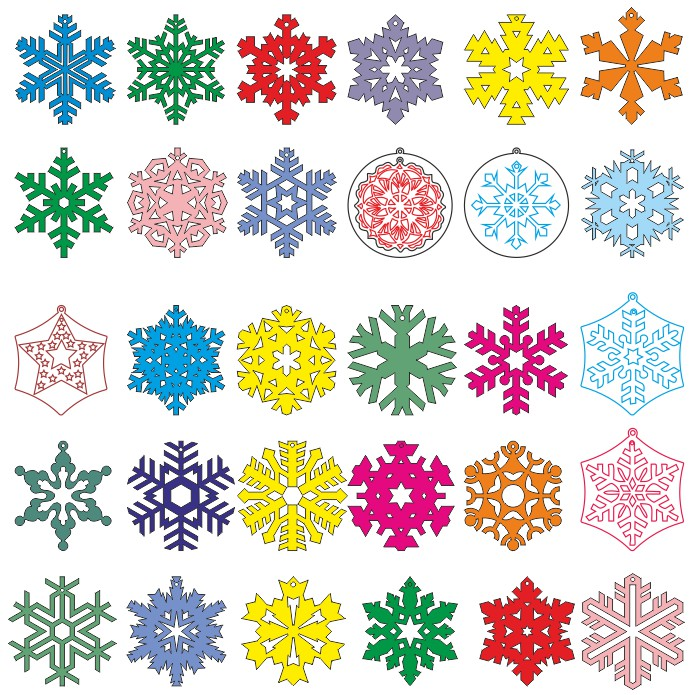 Different Vector Patterns Of Snowflakes Free DXF File