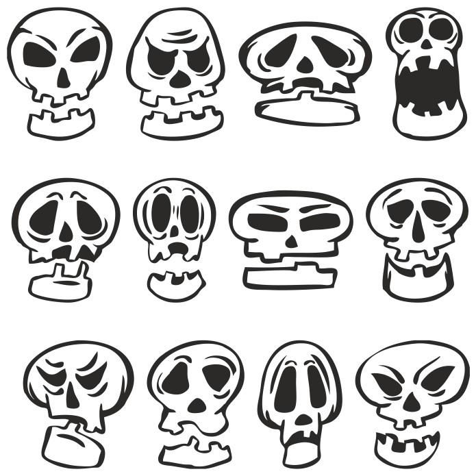 Funny Cartoon Skulls Plotter Cutting Free DXF File