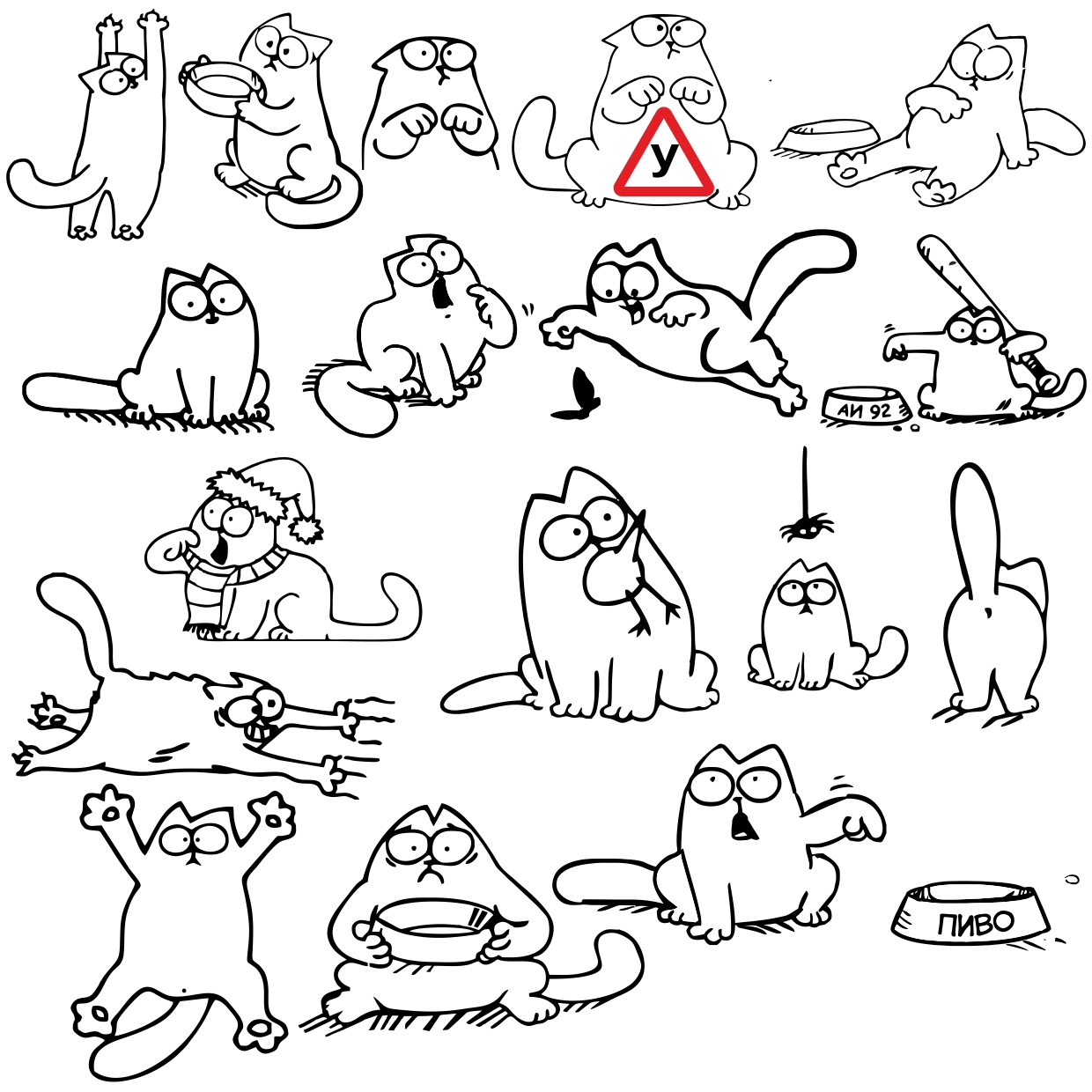 Pictures Of The Simon Cat For Plotter Cutting Labels Free DXF File