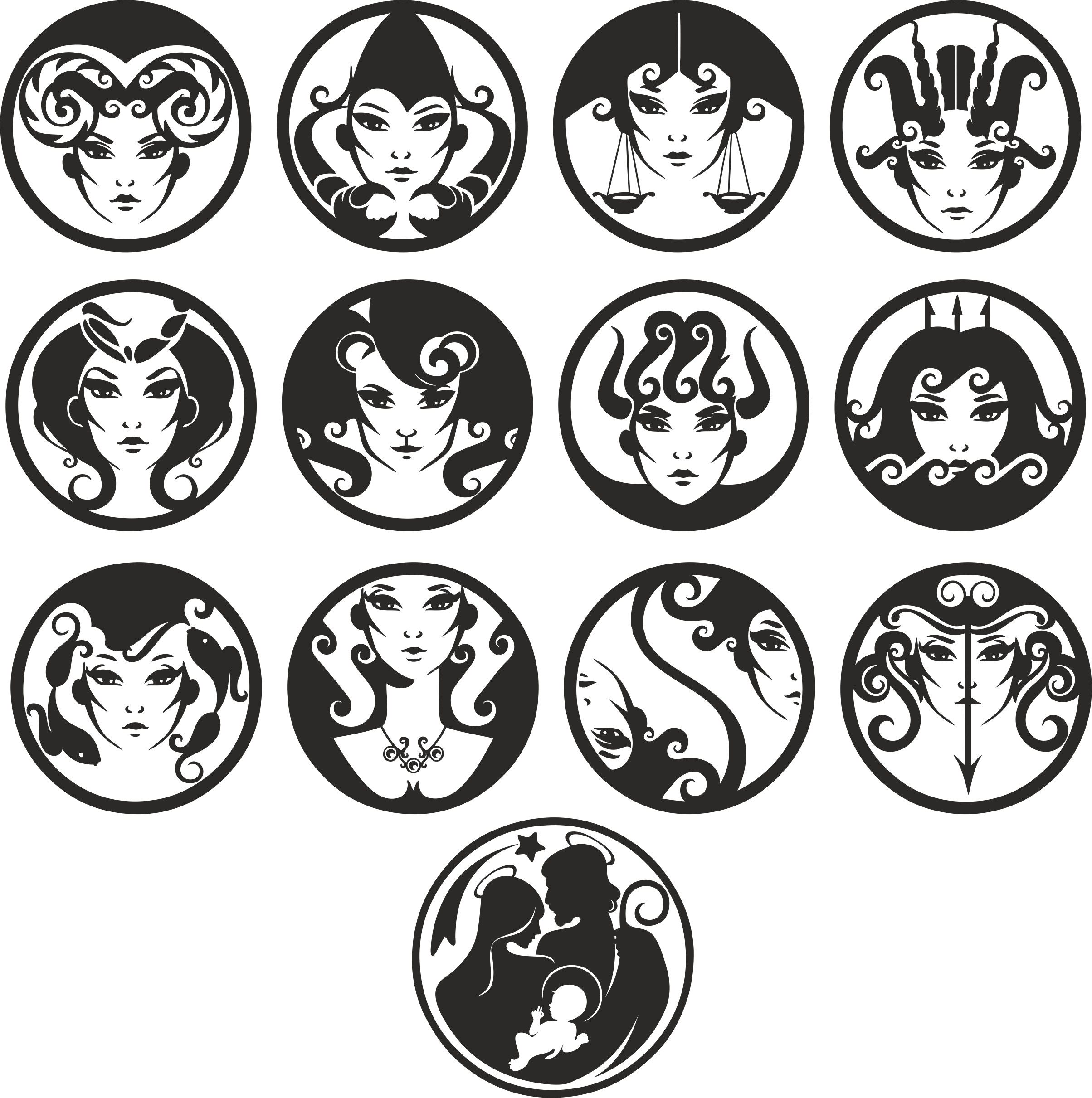 Zodiac Signs In The Form Of Female Faces Free DXF File