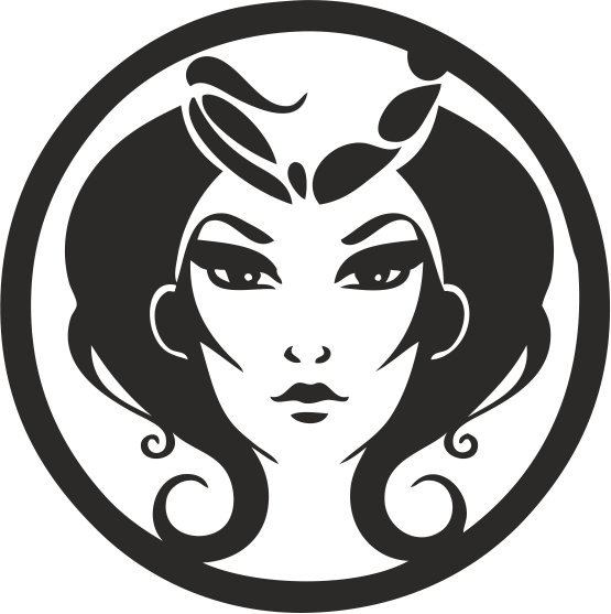 Zodiac Signs In The Form Of Female Face 05 Free DXF File