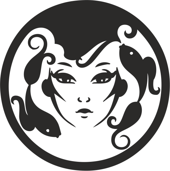Zodiac Signs In The Form Of Female Face 09 Free DXF File