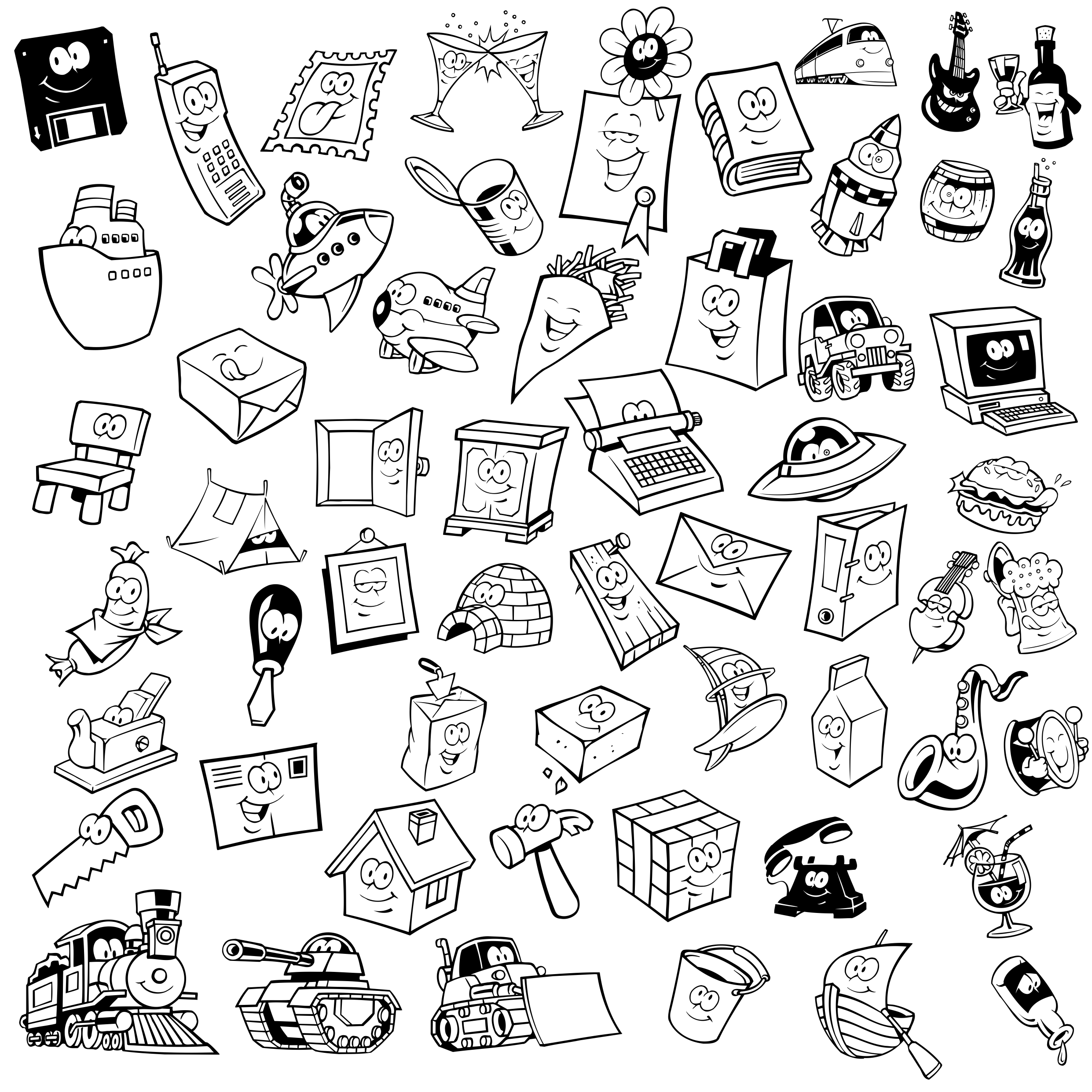 Small Lovely Objects With Eyes Free DXF File