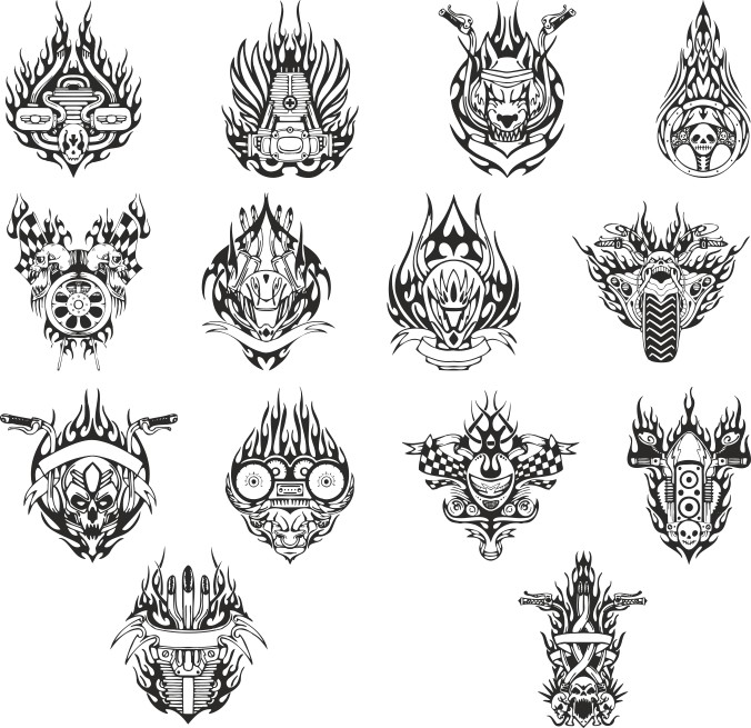 mock-ups Of Motorcycle Stickers Collection Free DXF File