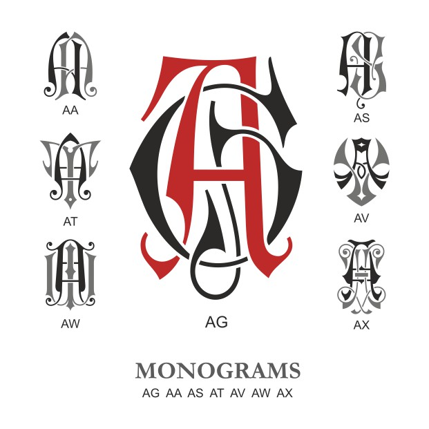 Monogram Vector Large Collection Ag Free DXF File